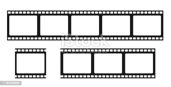 Film strip isolated vector icon. Retro picture with film strip icon. Film strip roll. Video tape photo film strip frame vector. EPS 10