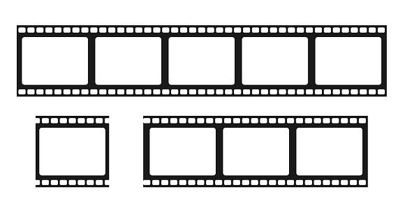 Film strip isolated vector icon. Retro picture with film strip icon. Film strip roll. Video tape photo film strip frame vector