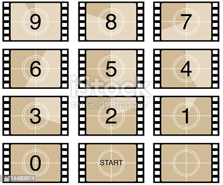 Vector illustration of filmstrip counting