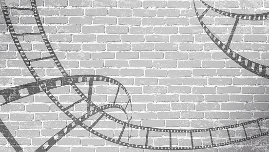 Film strip on grey brick wall. Background in cinematic style on brick wall. Old cinema abstract background. Cinema Movie Time Concept . Graffiti film reel in 3D isometric style. Vector illustration