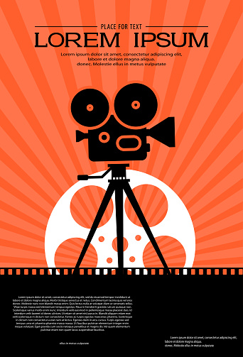 Film strip on the way with silhouette of cinema projector on a tripod and film roll. Cinema background. Retro movie festival template for banner, flyer, poster with place for text. Movie time concept.