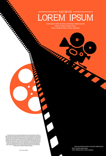 Film strip on the way with silhouette of cinema projector on a tripod and film roll. Cinema background. Retro movie festival template for banner, flyer, poster with place for text. Movie time concept