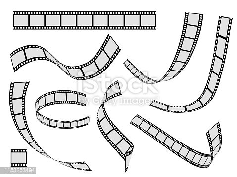 Film strip set. Cinema strip roll 35mm blank slide frame, photo video monochrome picture negative vintage media filmstrip, vector movie design
