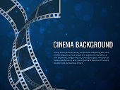 Film strip roll poster. Movie production with realistic blank negative film frames and text. Vector cinema filmstrip background