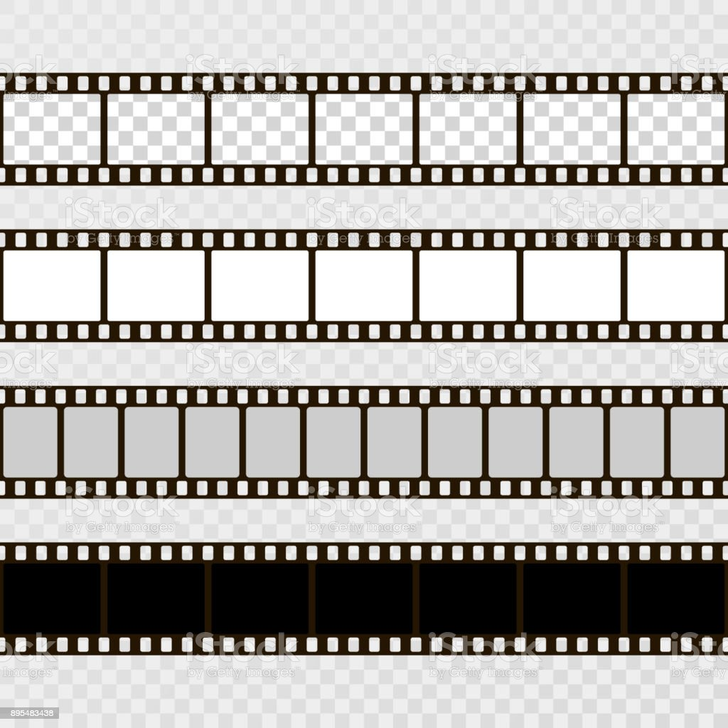 Film Strip Set Collection Of Film For The Camera Cinema Frame Vector ...