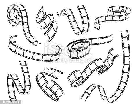 Film strip set. Series of transparencies in a strip for projection, movie and cinema design. Vector illustration on white background
