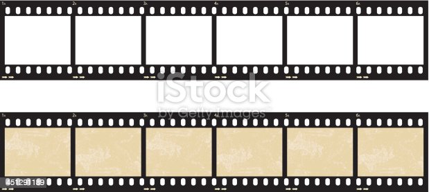 A set of film strips; both empty and with grunge panels.