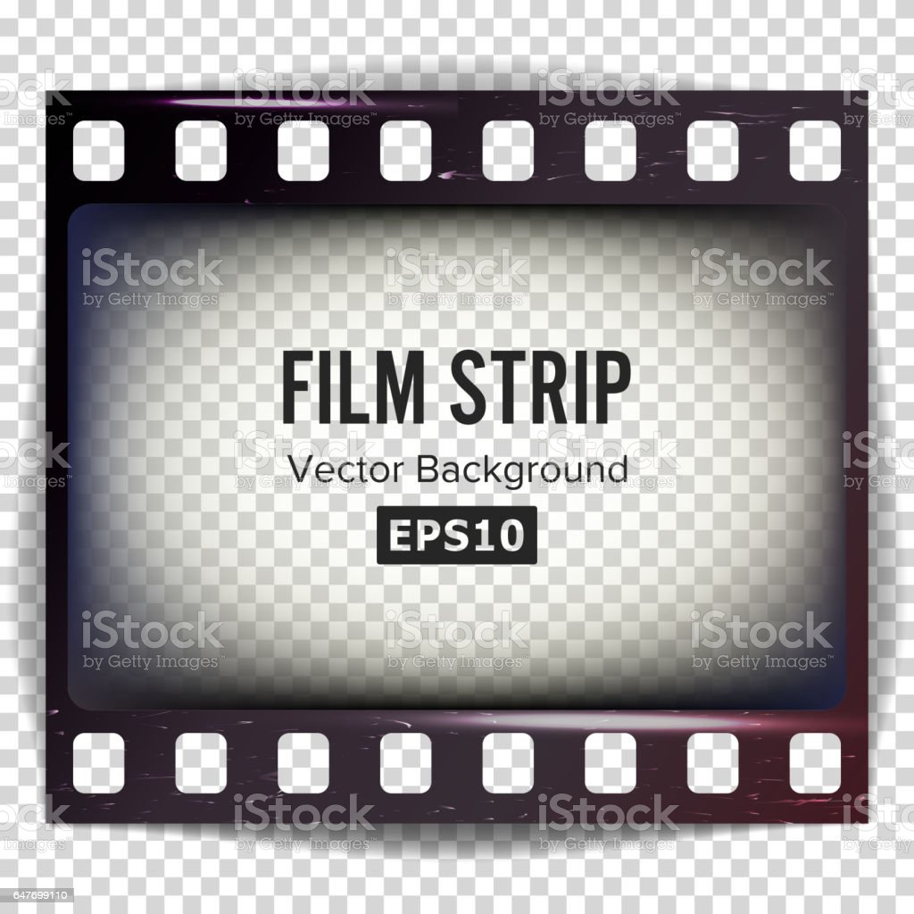 Film Strip Vector. Frame Strip Blank Scratched Isolated On Transparent Background vector art illustration