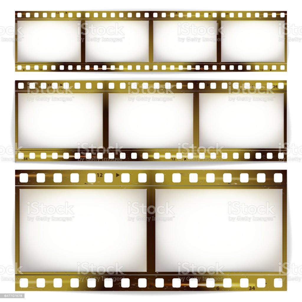 Film Strip Vector Set Cinema Of Photo Frame Strip Blank Scratched ...