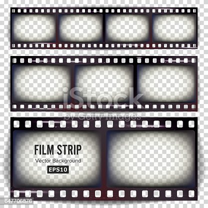 Film Strip Vector. Set Realistic Frame Blank Scratched Isolated On Transparent Background.