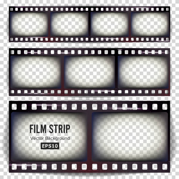 film strip vektor. eingestellten realistischen rahmen strip blank gekratzt isolierten auf transparenten hintergrund - film stock-grafiken, -clipart, -cartoons und -symbole