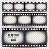 Film Strip Vector. Set Realistic Frame Strip Blank Scratched Isolated On Transparent Background