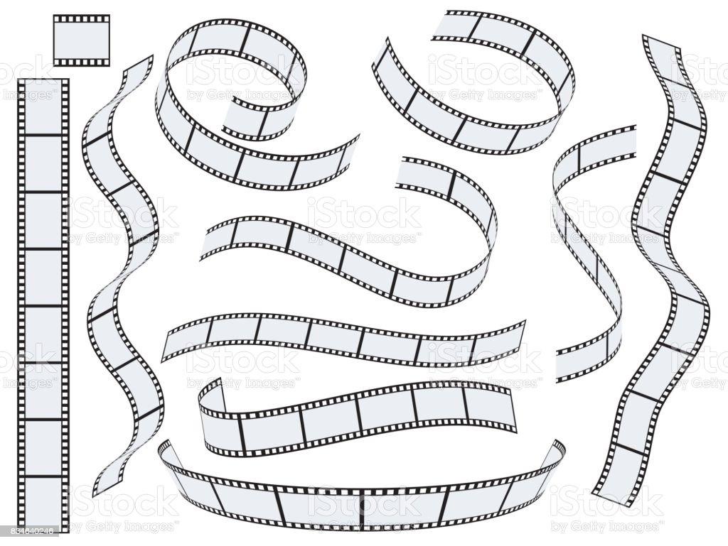 Film strip vector set vector art illustration