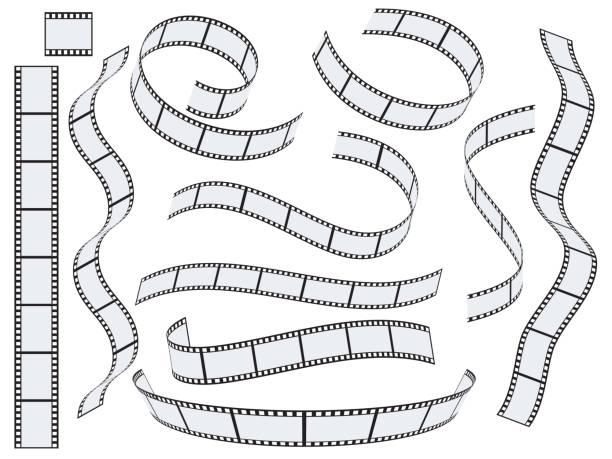 film-streifen-vektor-set - film stock-grafiken, -clipart, -cartoons und -symbole