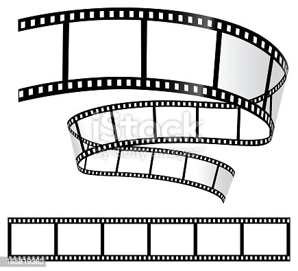 Curved and straight 35mm film strips on a white background. CS10 file has transparent shadow layers. Art on easily edited layers.
