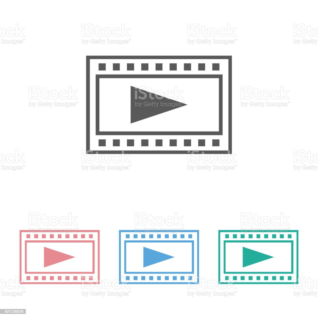 film strips & play button icon vector art illustration