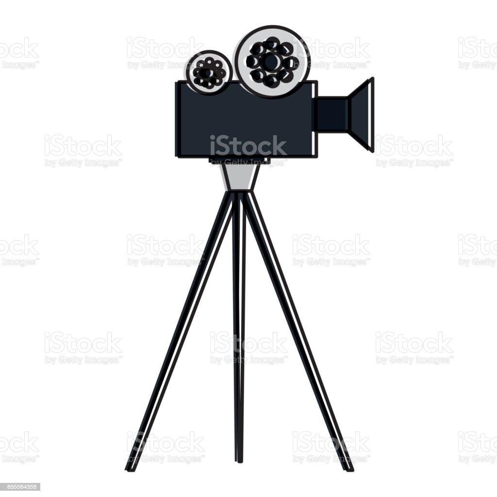 film video camera with tripod vector art illustration