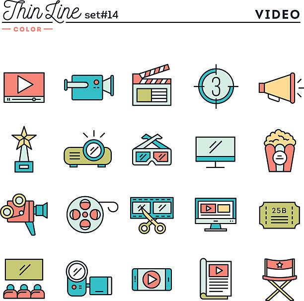 ilustrações de stock, clip art, desenhos animados e ícones de filmes, vídeos, tiro, editar e mais fina ícones de cor da linha - video call