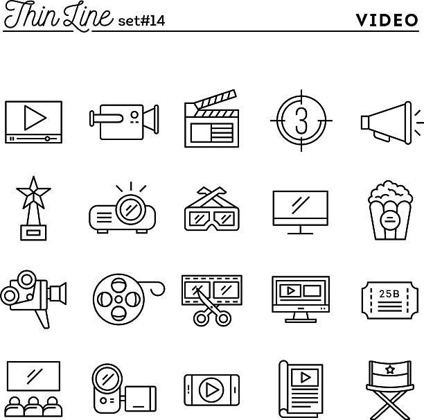 illustrazioni stock, clip art, cartoni animati e icone di tendenza di filmati, video, tiro, di di editing e di più, sottile linea icone impostare - video call