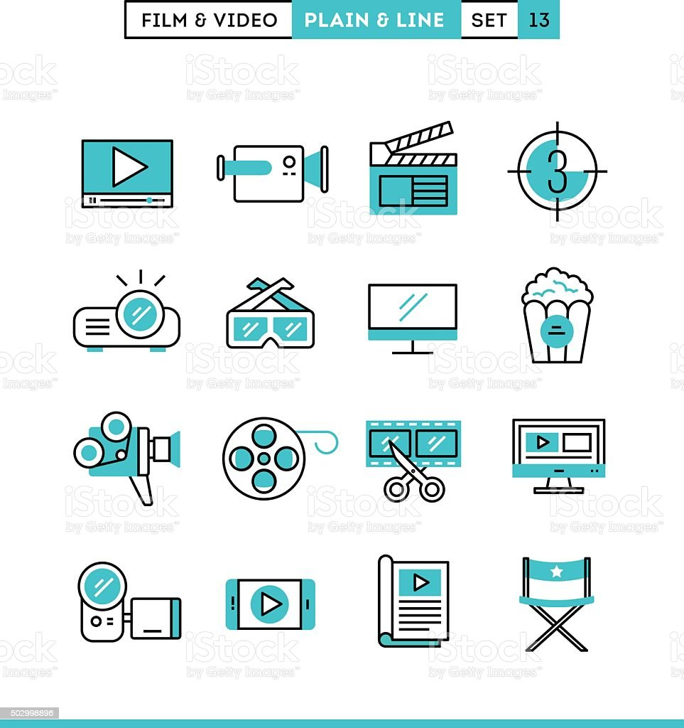 Film, video, shooting, editing and more vector art illustration