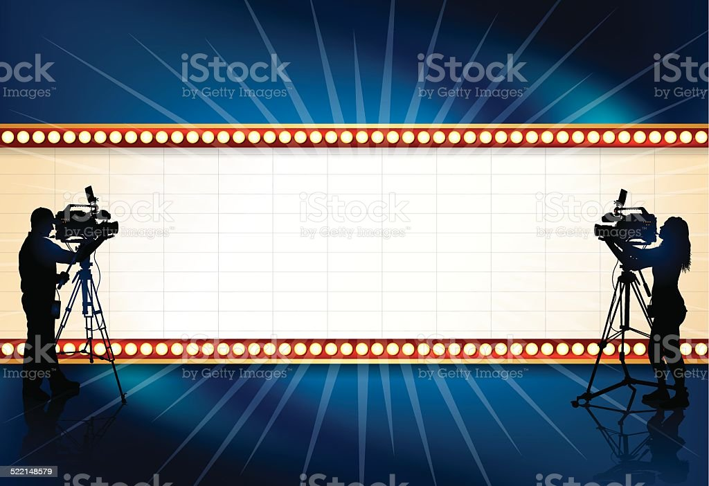 Film Video Television Production Theater Marquee Background vector art illustration