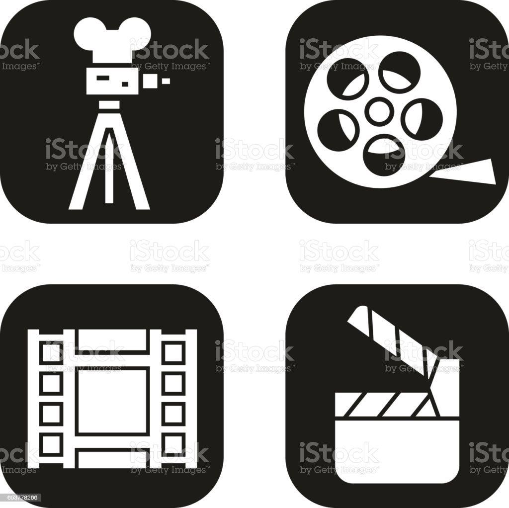 Filming icons set film camera video reel movie clapperboard symbol film camera video reel movie clapperboard symbol vector biocorpaavc