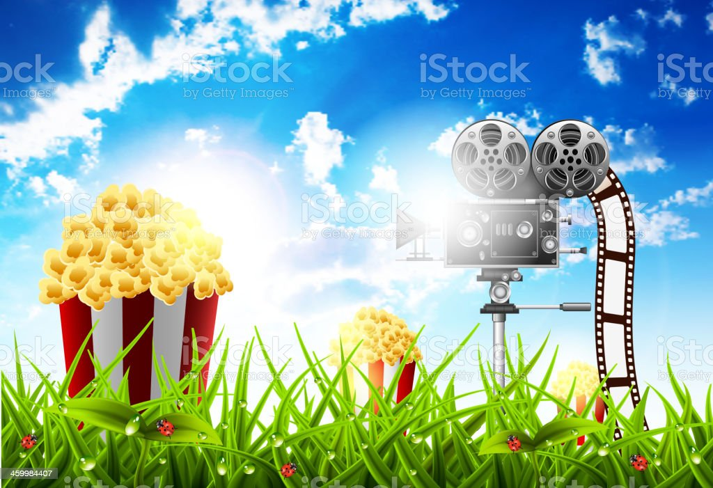 Filming in the nature royalty-free stock vector art