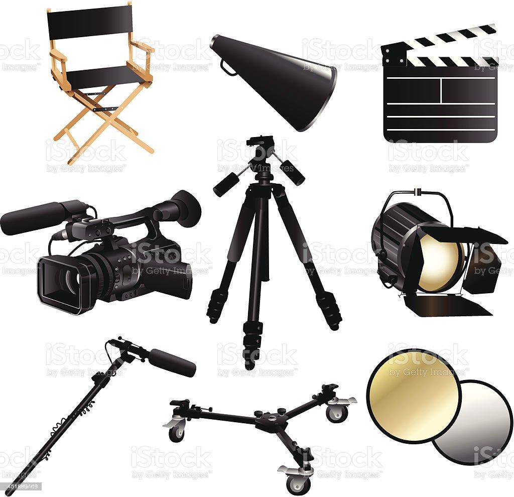 Filming movie icons vector art illustration