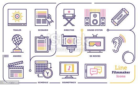 Line vector illustration of film making.