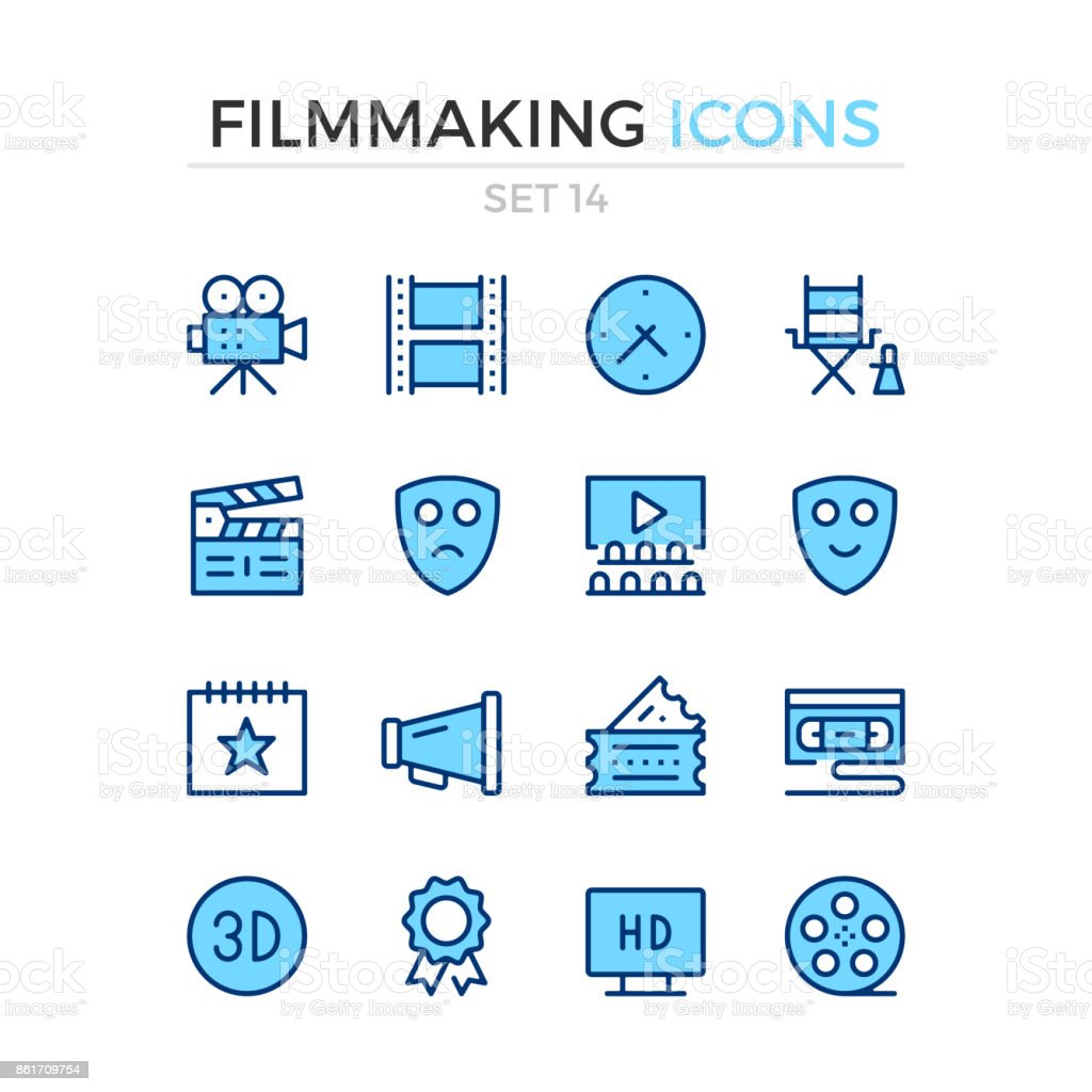 Filmmaking icons. Film production. Vector line icons set. Premium quality. Simple thin line design. Stroke, linear style. Modern outline symbols, pictograms vector art illustration