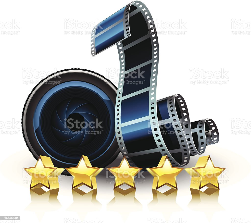 films, lens and stars royalty-free stock vector art
