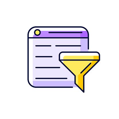 Filter bubble purple RGB color icon