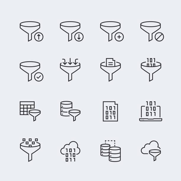 ilustraciones, imágenes clip art, dibujos animados e iconos de stock de icono de datos en estilo de línea fina del filtro - fiesta en la oficina