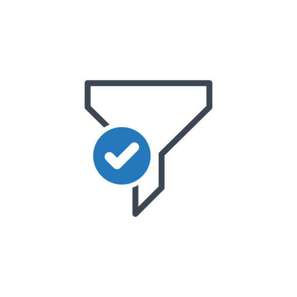 Filter icon with check sign. Funnel icon and approved, confirm, done, tick, completed symbol vector art illustration