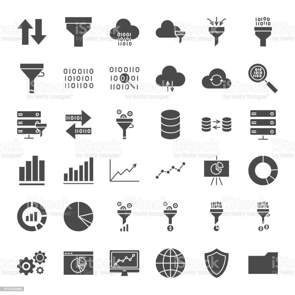 Filter Solid Web Icons vector art illustration