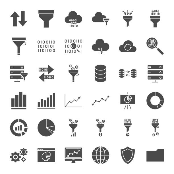 filter solid web icons - data stock illustrations