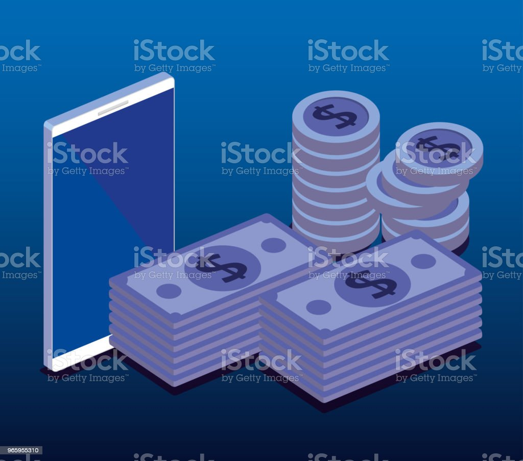 finacial transaction isometric set icons - Royalty-free Advertisement stock vector