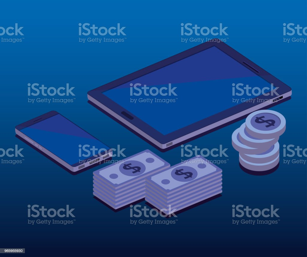 financiele transactie isometrisch set icons - Royalty-free Advertentie vectorkunst