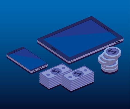Financiele Transactie Isometrisch Set Icons Stockvectorkunst en meer beelden van Advertentie