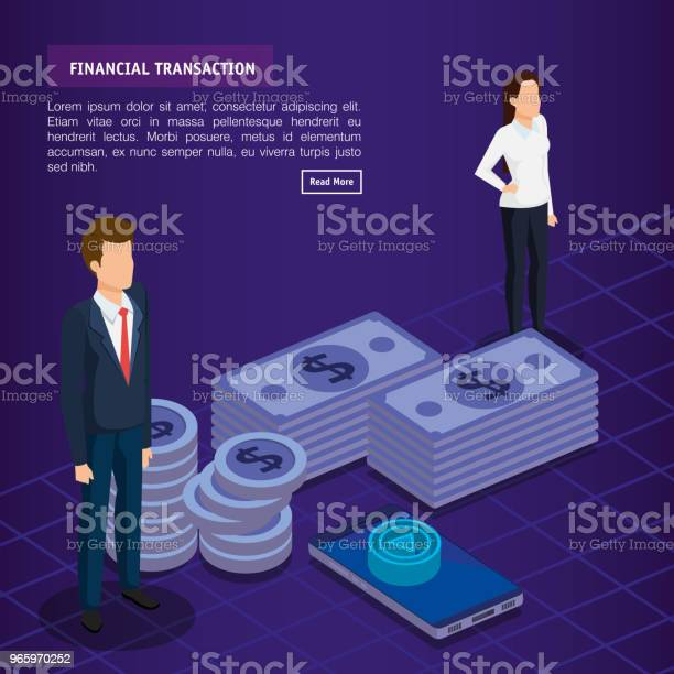 Finacial Transaction With Business People Isometric Stock Illustration - Download Image Now