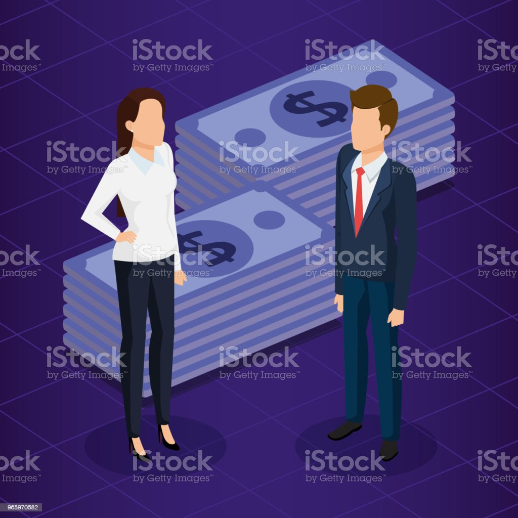 finacial transaction with business people isometric - Royalty-free Adult stock vector