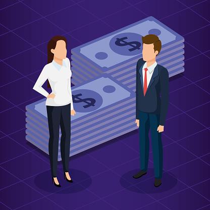 Financiele Transactie Met Mensen Uit Het Bedrijfsleven Isometrische Stockvectorkunst en meer beelden van Advertentie