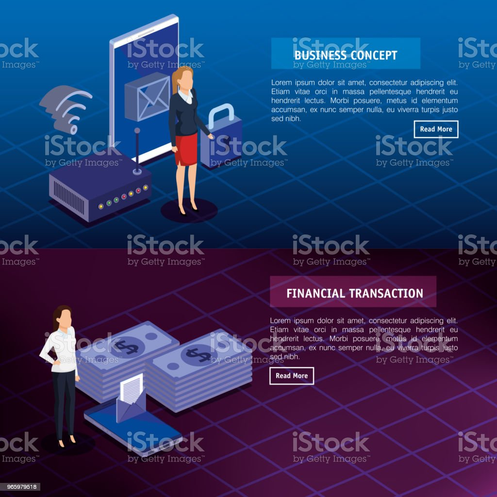 finanzielle Transaktion mit Geschäftsleuten isometrische - Lizenzfrei Ausrüstung und Geräte Vektorgrafik