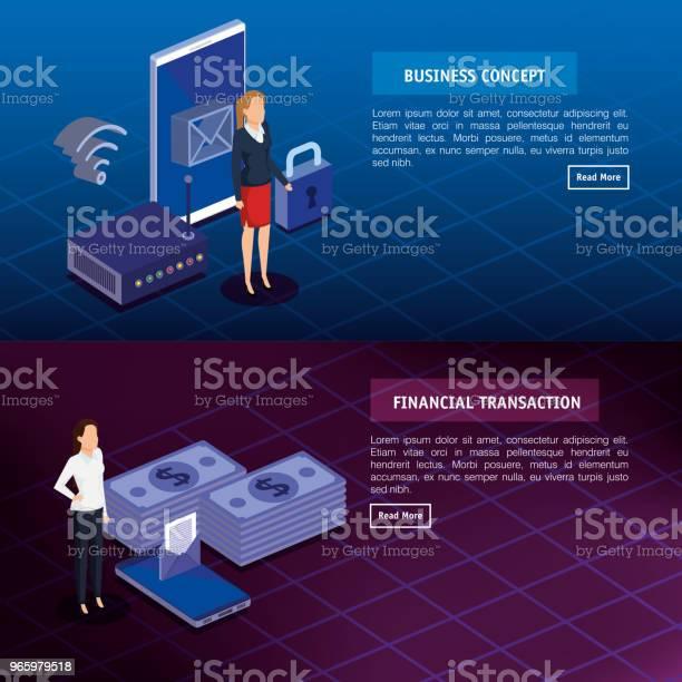 Finanzielle Transaktion Mit Geschäftsleuten Isometrische Stock Vektor Art und mehr Bilder von Ausrüstung und Geräte