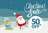 Final Christmas sale holiday discount 50% off poster Santa and Snow Maiden riding on sleigh on winter landscape vector illustration advert banner