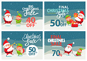 Final Christmas sale holiday discount 70 40 50 % off posters with Santa and Elf riding on sleigh, playing musical instrument, merrily jumping banners