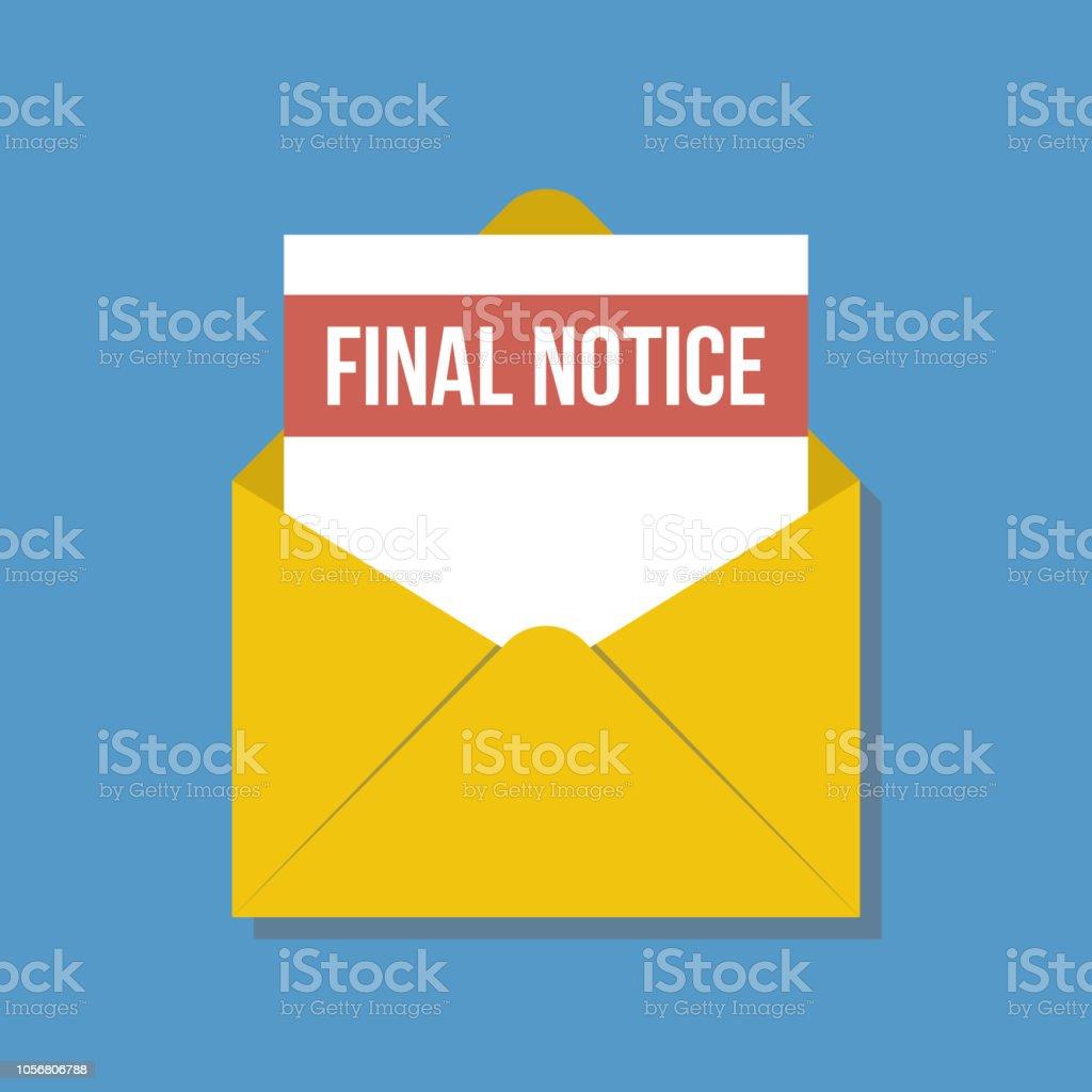 Letzte Mahnung Brief Im Gelben Umschlag Flache Vektorillustration