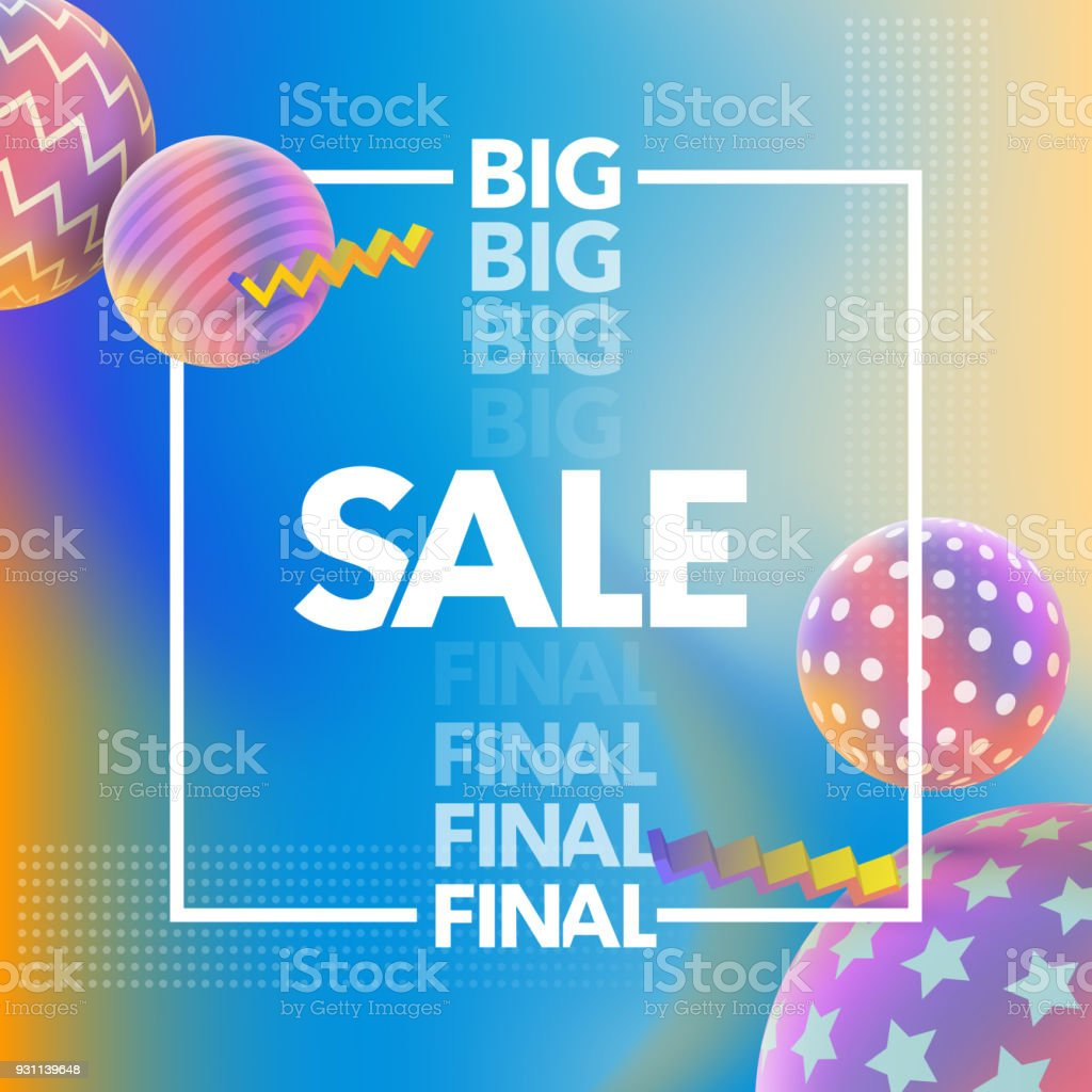 Final Sale banner. Special offer, big sale banner. Multicolored abstract vector holographic 3D background. royalty-free final sale banner special offer big sale banner multicolored abstract vector holographic 3d background stock vector art & more images of 80-89 years