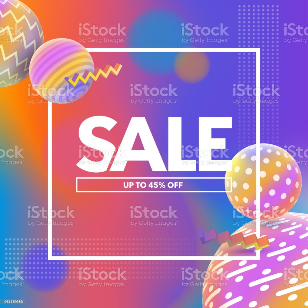 Final Sale banner. Special offer, big sale banner. Multicolored abstract vector holographic 3D background. Trendy liquid gradients. Template for banner and advertising poster. Vector illustration. 80-89 Years stock vector