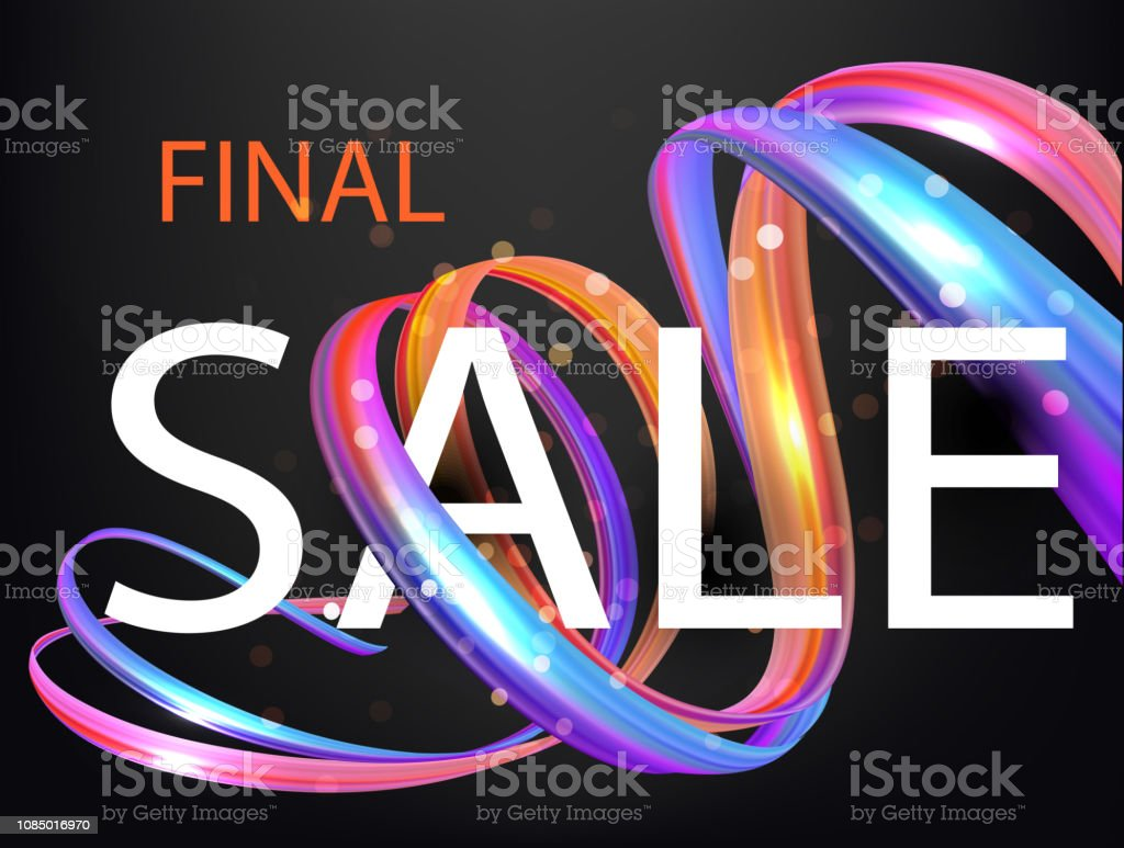 Final sale banner with colorful levitating ribbons. Vector illustration vector art illustration